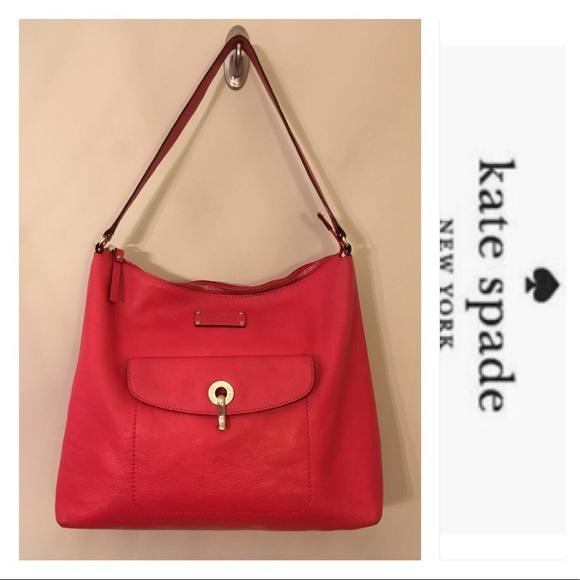 2dc54def4ca7f kate spade Handbags - Kate Spade Red Pebble Leather Serena Kent Shoulder